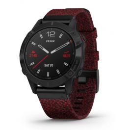 Garmin Fenix 6 Sapphire Black DLC with Heathered Red Nylon Band