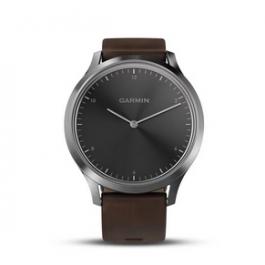 Garmin vivomove HR Sport, Premium Silver w/ Dark Brown Leather Band